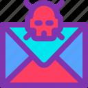 email, inbox, skull, spam, virus icon
