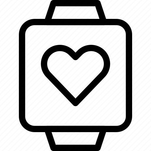 computer, device, electronics, heart, rate, timepiece icon