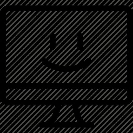 computer, desktop, device, display, monitor, screen, smiley icon