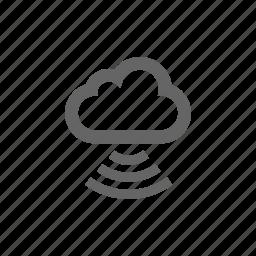 cloud, computer cloud, server, store, wave icon
