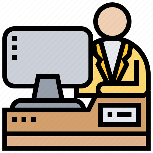computer, concentrate, desk, focus, work icon