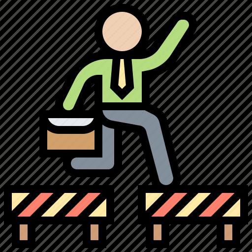 achievement, barrier, obstruct, overcome, success icon