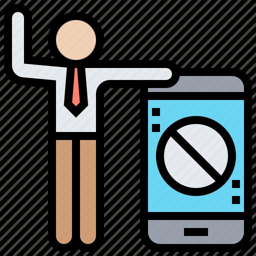 communication, prohibition, rule, smartphone, social icon
