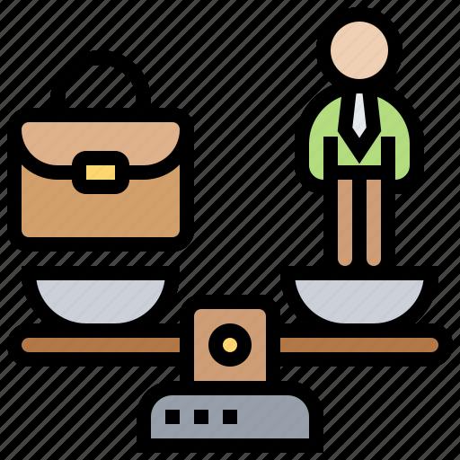 balance, importance, management, scale, work icon