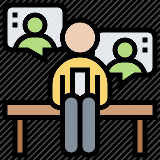 communication, conversation, habit, routine, work icon