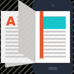 book, digital, ebook, education, mobile, phone, read icon