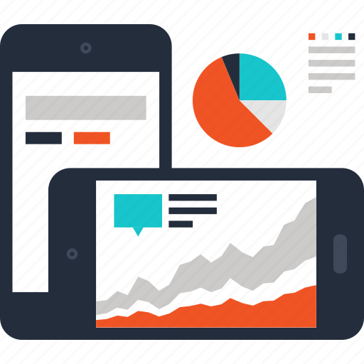 analytics, chart, dashboard, graph, mobile, phone, statistics icon