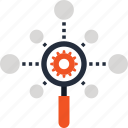 cogwheel, explore, magnifier, network, optimization, search, seo