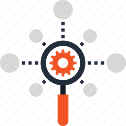 cogwheel, explore, magnifier, network, optimization, search, seo icon