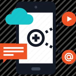 communication, media, mobile, network, phone, share, social icon