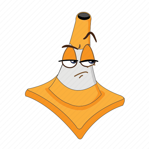 cartoon, cone, emoticon, face, poud, traffic, transportation icon