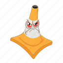angry, cartoon, cone, emoticon, face, traffic, transportation icon