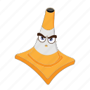 cartoon, cone, emoticon, face, focus, traffic, transportation icon