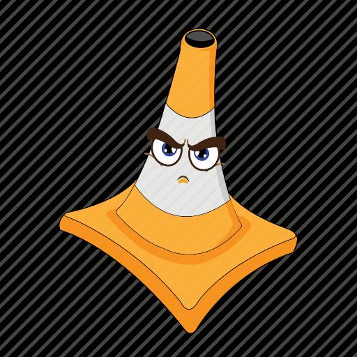 cartoon, cone, emoticon, face, focus, traffic, transportation icon