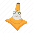 cartoon, cone, emotion, face, sick, traffic, transportation icon