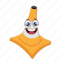 cartoon, cone, emoticon, face, happy, traffic, transportation icon