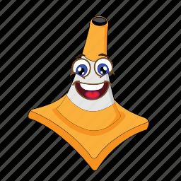 cartoon, cone, emoticon, face, happy, traffic, transportation icon