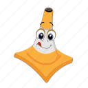 cartoon, cone, emoticon, laugh, poud, smile, traffic icon
