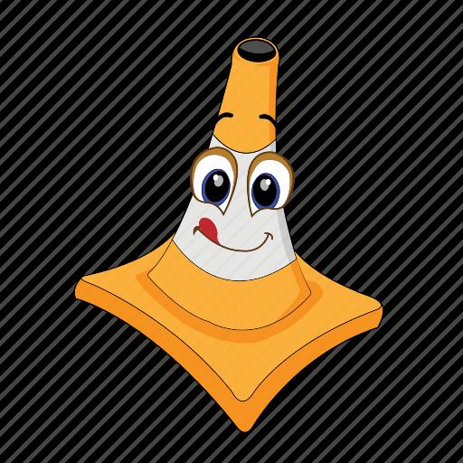 cartoon, cone, emoticon, laugh, poud, smile, traffic icon