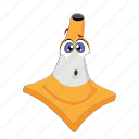 cartoon, cone, emoticon, face, ouch, traffic, transportation icon