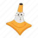 cartoon, cone, face, poud, smile, traffic, transportation icon