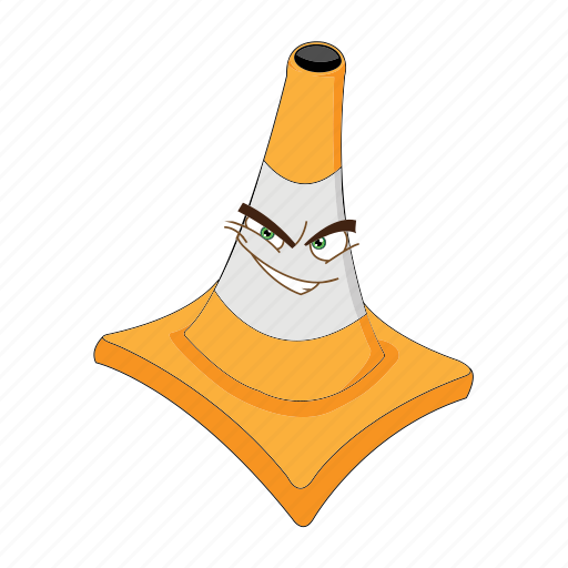 cartoon, cone, emoticon, face, joker, traffic, transportation icon