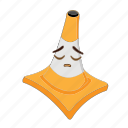 cartoon, cone, emoticon, face, sad, traffic, transportation icon