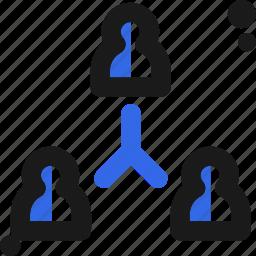 connectivity, organization, people, team icon