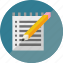 block notes, notes, pencil icon