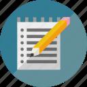 pencil, notes, block notes