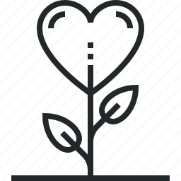 gratitude, grow, growth, heart, love, sprout icon