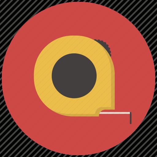 building, construction, measure, reel, roulette, tape measure, tool icon