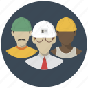 builders, building, construction, group, men, people, team icon