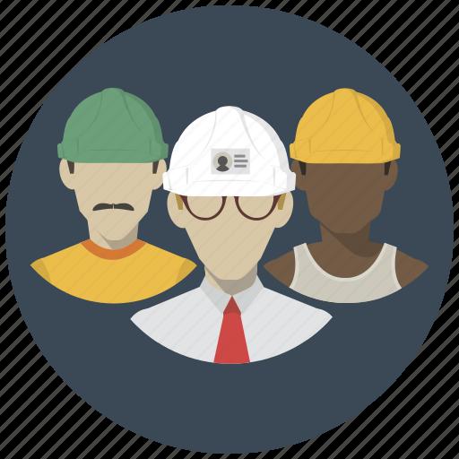 builders, building, construction, group, men, people, team icon