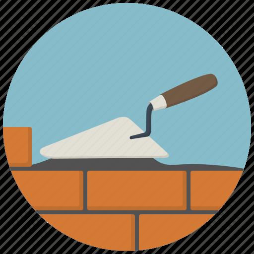 brick, bricks, build, building, construction, spatula, tool icon