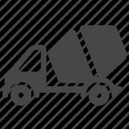 cement, cement truck, concrete, concrete truck, construction, mixer truck, mortar icon