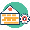 cogwheel, home importmen, home remodeling, home renovation, home repair, home with cogwheel, house settings icon