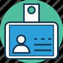 employee card, id pass, identification, identity badge, identity card, student card, volunteer card icon