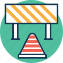 barrier, construction barrier, road barrier, road under construction, street barrier, traffic barrier, traffic cone and barrier icon
