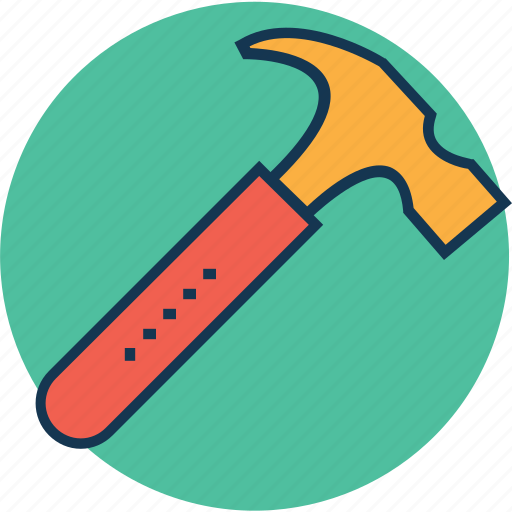 claw hammer, construction, hammer, hand tool, nail fixer, nail hammer, work tool icon