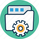 cogwheel, folder with cog, folder with cogwheel, logistics settings, package, secure logistics, shipping icon