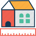 cottage, house measurement, house with ruler, house with scale, hut, measuring scale, ruler icon