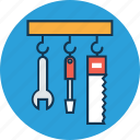 construction, construction tools hanging, constructor tool, saw, screwdriver, wrench icon