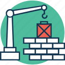 bricks lifter, building construction, construction machinery, crane lifter, home repair, wall bricks lifter, wall construction lifter icon