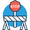 barrier, construction barrier, hurdle, road barrier, stop sign on barrier, street barrier, traffic barrier icon
