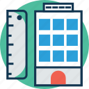 accommodation, apartments, building, building with measurement ruler, flats, hotel, residential flats icon