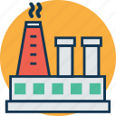 chimney, factory, industry, manufactory, manufacturing plant, mill, refinery icon