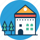 building, farmhouse, home, house, hut, living house, village icon