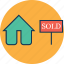 info, real estate, sale sign, sold, sold home, sold property, sold sign icon