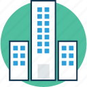 apartments, building, city building, flats, modern flats, residential flats, three buildings icon